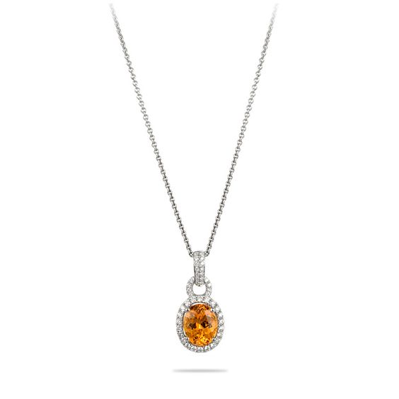 Spark 18K White Gold, Spessartite and Diamond Necklace