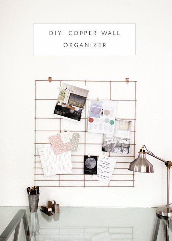 DIY :: COPPER OFFICE WALL ORGANIZER by coco+kelley  #Copper, #Design, #DIY…