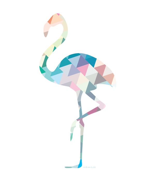 flamingo | triangles | colors | by o-k-e-r