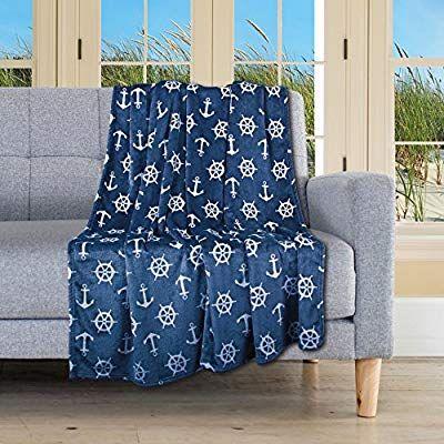 Delindo Lifestyle Kuscheldecke Nautic Blau Microfaser Fleece Decke In 150x200 Cm Flauschig Weiche Maritime Wohndecke Fur Erwachs Kuscheldecke Decke Flauschig