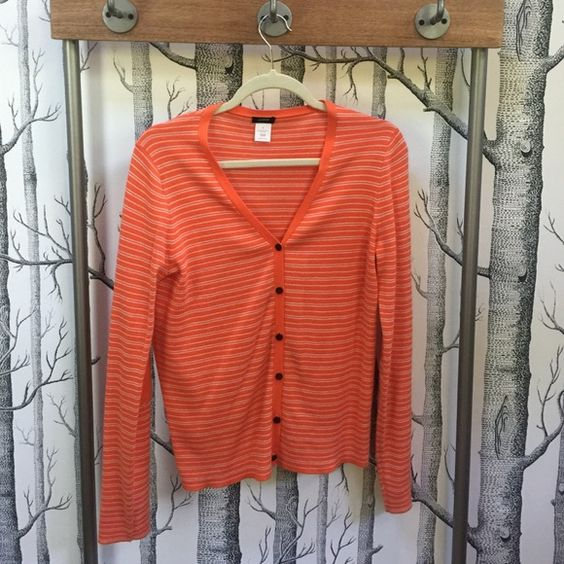 JCrew Cardigan JCrew V-Neck Cardigan 80% Pima Cotton and 20% Wool, Very Soft.  Orange with White Stripes.  Elbow Pad Details.  Worn Once, Excellent Condition. J. Crew Sweaters Cardigans