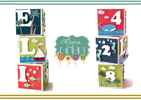 Decorative 3 Baby Blocks - Key West Themed Childrens Decor