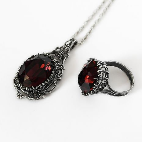 Burgundy Gothic Necklace and Ring Set...pinned by ♥ wootandhammy.com, thoughtful jewelry.