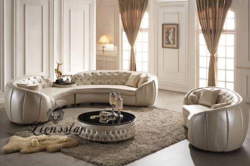 Couchgarnitur-Sofaset-Rund-Weiss