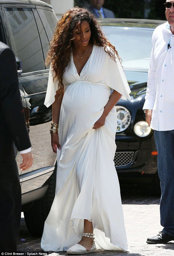 Ciara was glowing in white as she attended Kim Kardashian's wedding shower