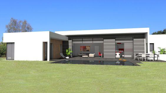 atelier d 39 architecture sc nario maison contemporaine de plain pied avec mix de mat riaux bois. Black Bedroom Furniture Sets. Home Design Ideas