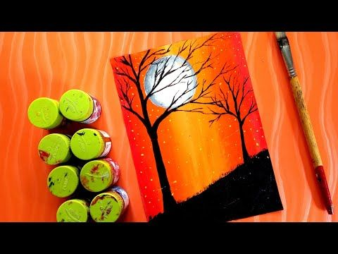 Painting Beautiful Scenery With Poster Colour Acrylic Panting Youtube Poster Color Painting Poster Colour Colorful Drawings