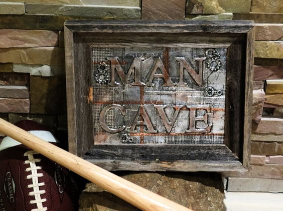 Man Cave  Industrial Style Wall Sign with by MegAndMosClubhouse #tnteam, #etsy, #MegAndMosClubhouse