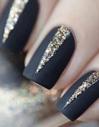 Matte black with sparkles