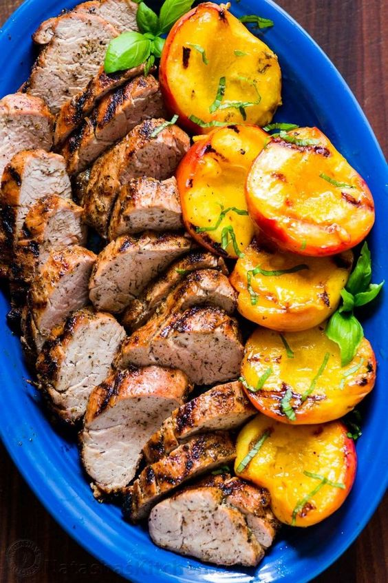 Grilled Pork Tenderloin with Peaches