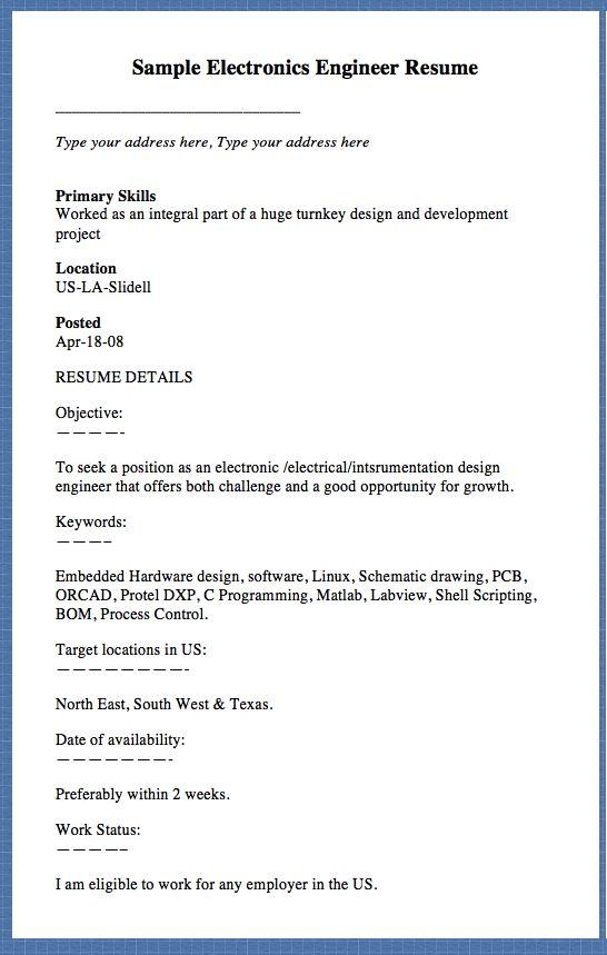 Sample Electronics Engineer Resume Type your address here, Type ...