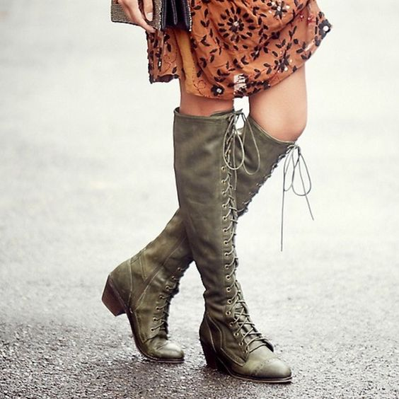 Free People x Jeffrey Campbell Joe boots Fp x Jc Joe boots in olive green size 7. I am a 6.5 and purchased the 7's because they only come in whole sizes and this fit perfectly. Only worn about 3 times and in perfect condition! Paid full price for these so only sensible offers will be considered and no trades! Jeffrey Campbell Shoes Over the Knee Boots