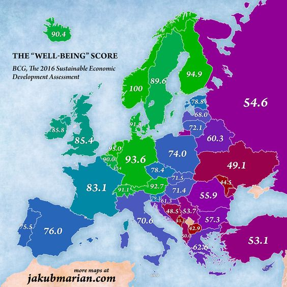 a map of the best European countries, ranked in order of well-being.