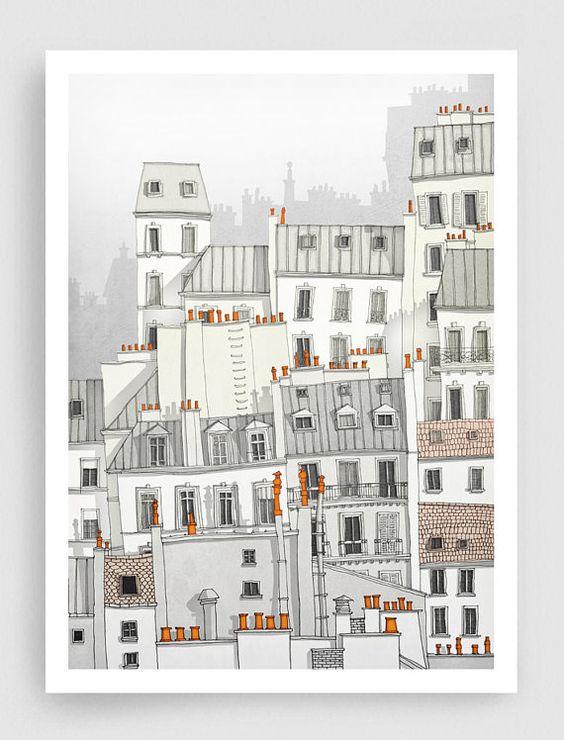 VENTE, illustration de Paris - Paris, Montmartre - illustration de l'Art, estampes, affiches d'Art, art Paris, Paris décor, décor de mur, gr...