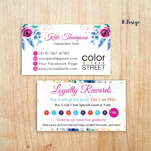 Personalized Color Street Loyalty Rewards Card Punch Card Cl30 Loyalty Reward Card Punch Cards Reward Card