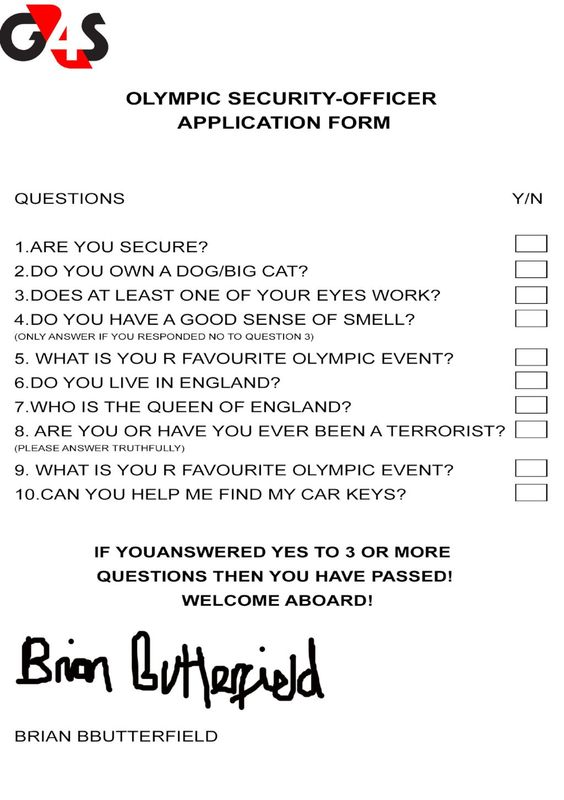 Olympic Security-Officer Application Form (via Brian Butterfield). *Snicker*