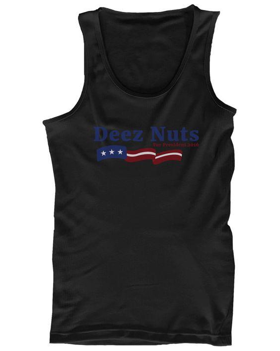 Deez Nuts for President 2016 Banner Men's Black Tanktop Funny Graphic Tank