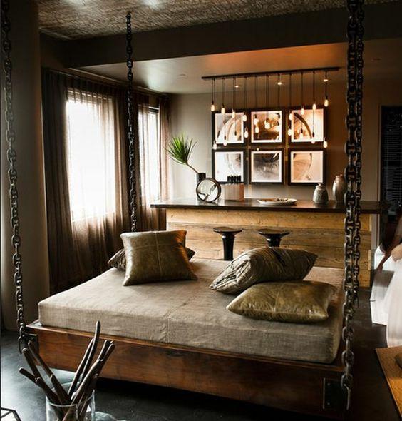 von der decke hängendes bett im eleganten schlafzimmer - Hängende ...