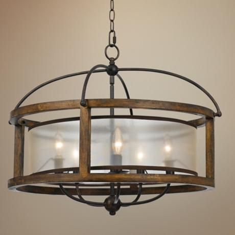 Mission 26 wide wood 5 light pendant chandelier pendant chandelier chandeliers and pendants - Kichler dining room lighting ideas ...