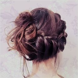 messy braided updo: