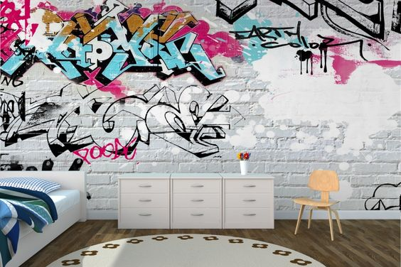 Wallpaper Wall Coverings | White Wall Graffiti Wallpaper Wall Mural | MuralsWallpaper.co.uk