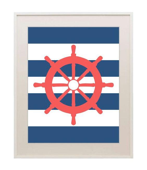 Nautical Baby Wall Decor : Nautical wheel sailboat nursery decor ship baby