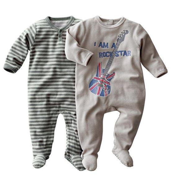 Pijama con pies de terciopelo bebé niño (lote de 2)
