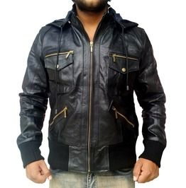 Mens Biker Multi Pocket Bomber Leather Jacket/Coat Black Multi Style New
