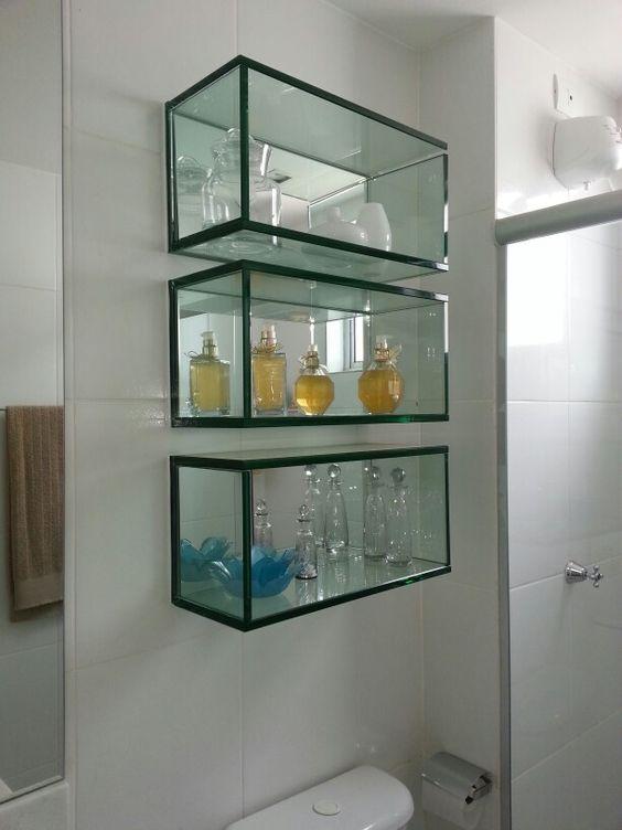Nichos de vidro para banheiro  lavabos  Pinterest -> Nicho Para Pia De Banheiro