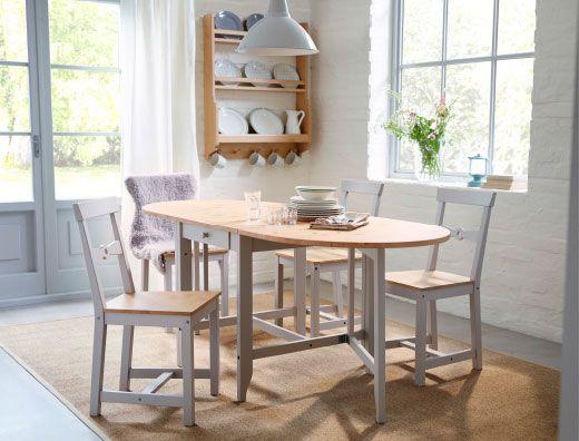 Comedor tradicional con mesa plegable y sillas GAMLEBY de madera de pino/gris