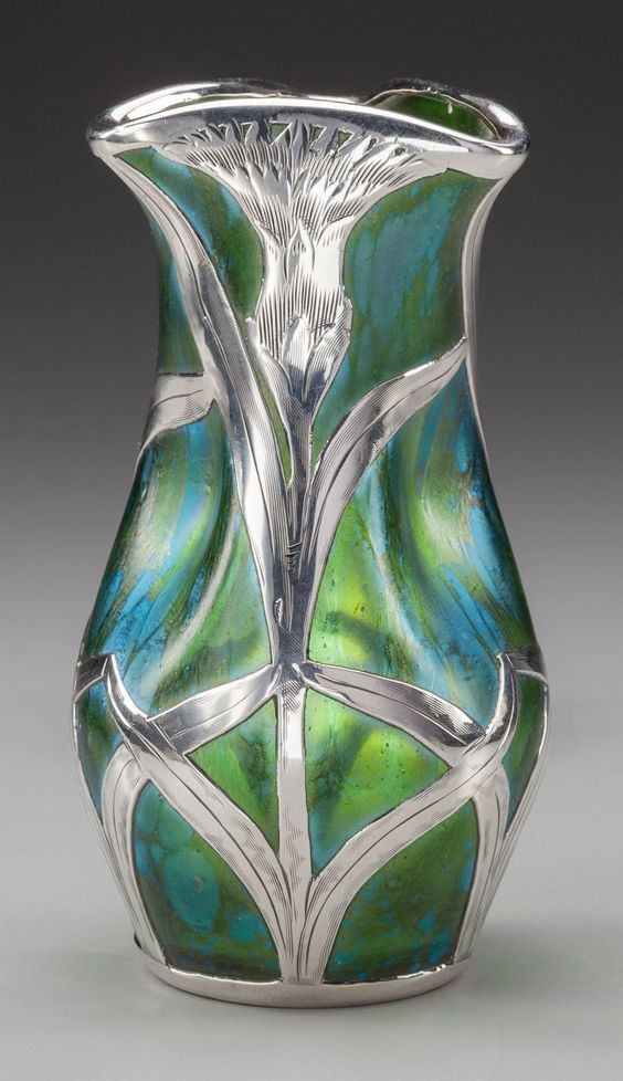 LOETZ cabinet vase with silver overlay by Alvin .Marks: (effaced A), STERLING M08, 925/1000 FINE, 28. Measures 4-7/8