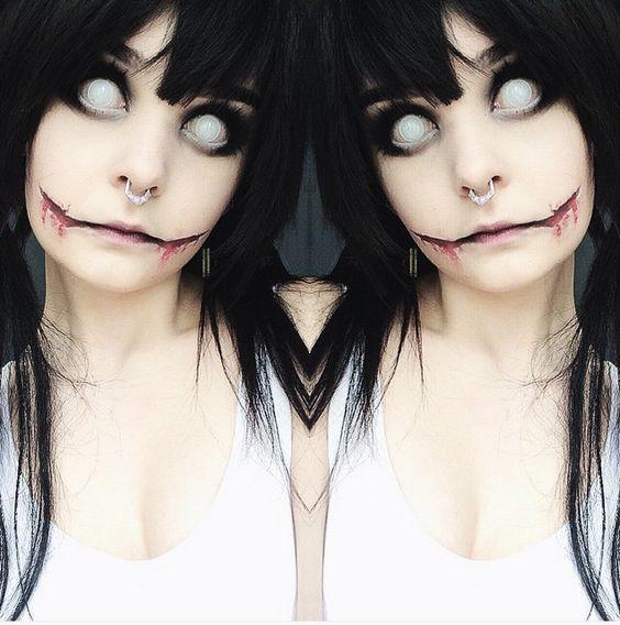 @milkwhore - instagram, jeff the killer, halloween, makeup tutorial, makeup transformation, chelsea smile, septum, alternative, black hair