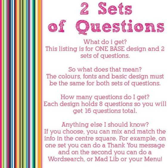 Want to keep your guests chatting EVEN LONGER?  This listing is for ONE BASE design and two sets of questions, so youll get 16 questions in