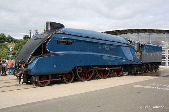 A 4  Pacific  (60022) Gresley designed   ' Mallard  steam ' at Shildon Railway Museum, County Durham in June 2010