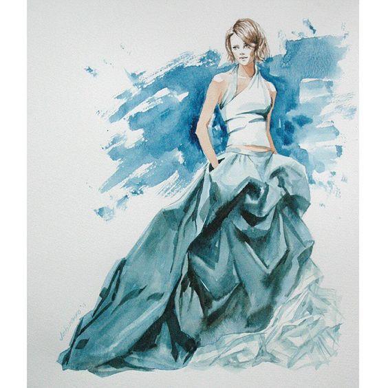 Моя любимая тема) . В этой работе я  поняла, что рисовать людей на А4, как раньше делала, это кощунство . Ведь насколько легче это получается на большем формате! #Fashion #Illustrations #watercolor #акварель