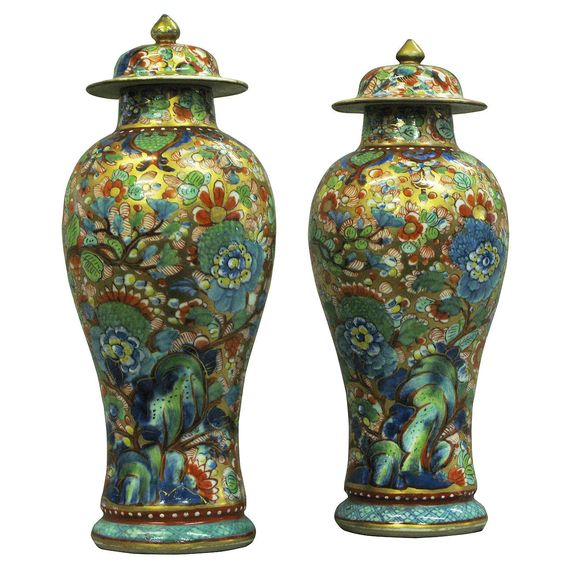 Pair of 19th Century Clobbered Vases | From a unique collection of antique and modern vases at https://www.1stdibs.com/furniture/dining-entertaining/vases/