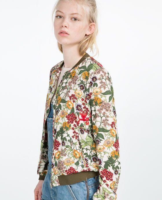 image 4 de blouson bomber imprim floral de zara dream dressing pinterest fleuri vestes. Black Bedroom Furniture Sets. Home Design Ideas