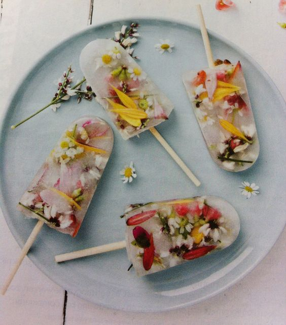 gorgeous popsicles made with edible flowers and herbs: