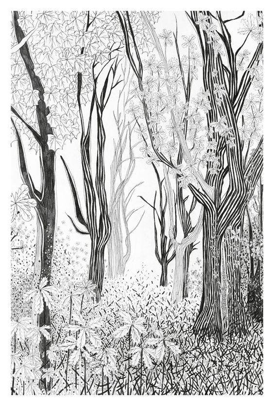 Postkarte Wald Zeichnung grafische Illustration von TheresaGrieben