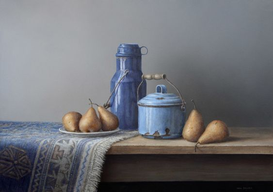 Pears and blue enamel