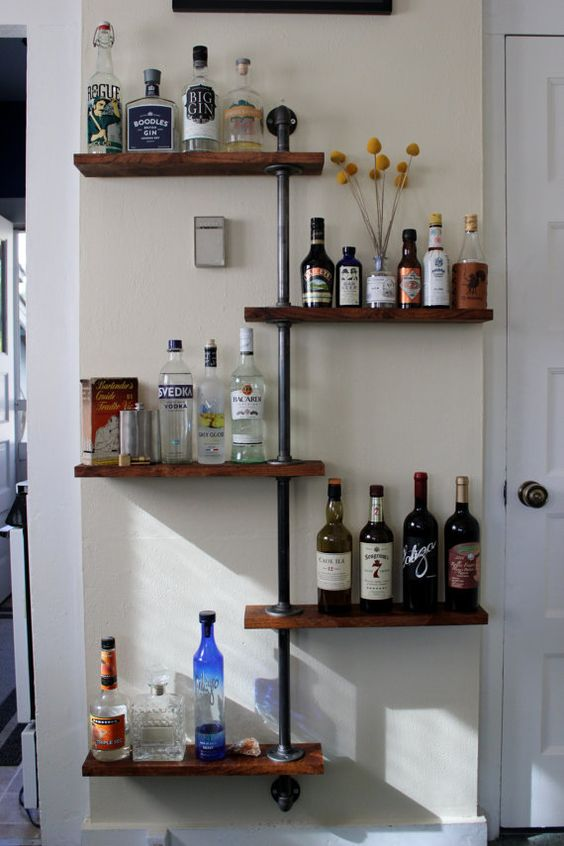 Bottle tree liquor shelf by backyardgoods on etsy for How to make display shelves