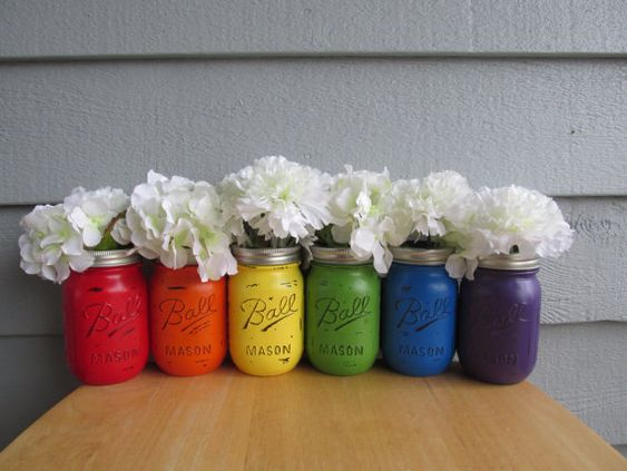 Painted and Distressed Ball Mason Jars- RAINBOW-Set of 6-Flower Vases, Rustic Wedding, Centerpieces on Etsy, $42.00