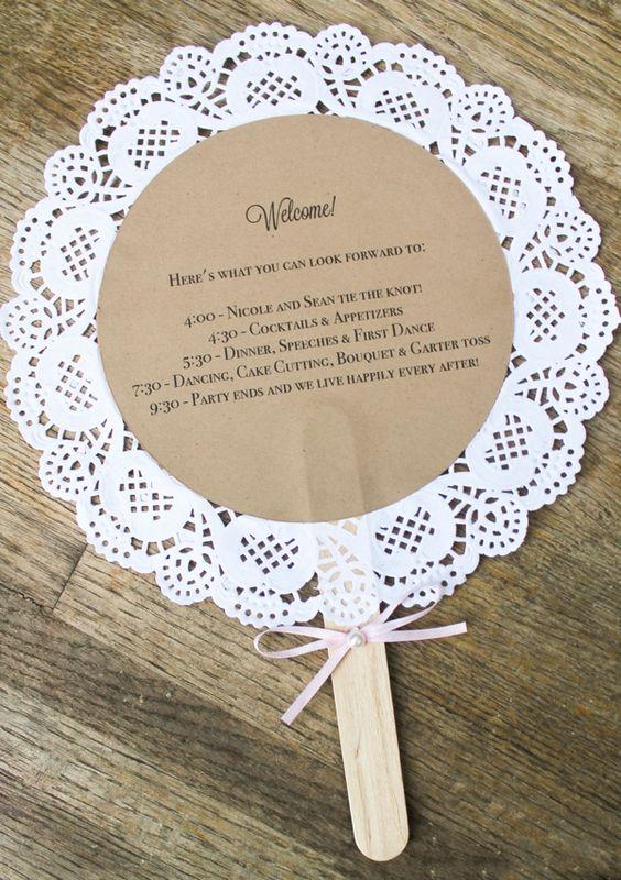Doily Wedding Program Fans Custom Vintage Inspired