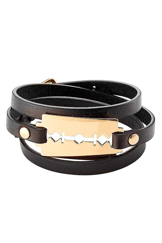 Leather Bracelet with Razor Blade -- add attitude to any outfit