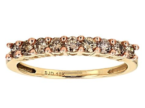 Champagne Diamond 10k Yellow Gold Band Ring 45ctw Rgd169 In 2020 Champagne Diamond Gold Band Ring Diamond