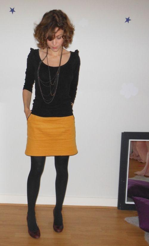 mini jupe moutarde * patron maison * Au fil de la Lune * blog couture