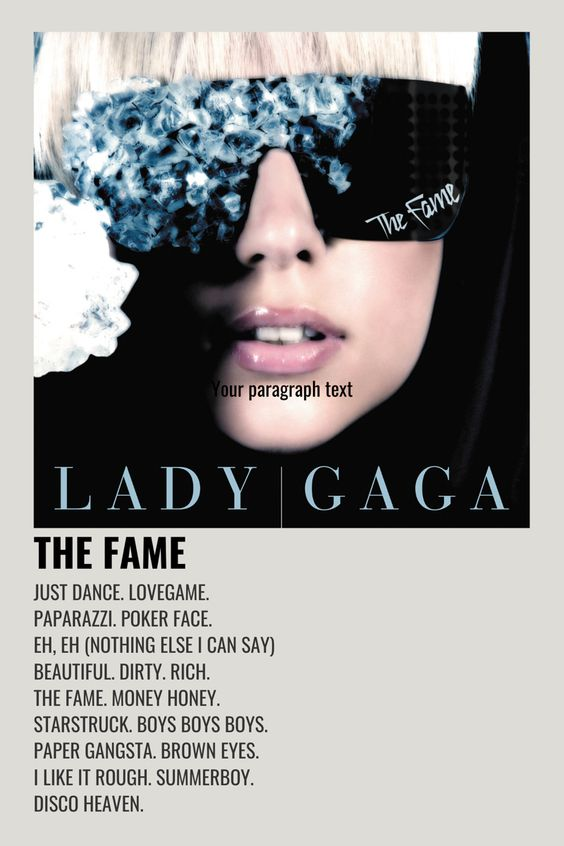 Lady Gaga Fame Music Album Cover Minimalist Music Film Posters Minimalist