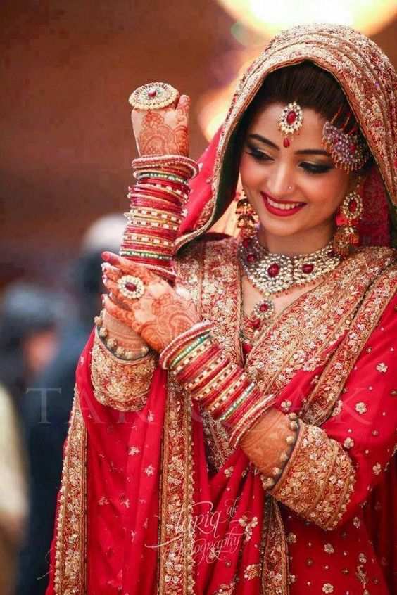 Red Indian style lehnga for brides