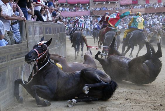 There are about a dozen horse races, called 'pali' held in Italy throughout the year. Some are truly medieval - in all senses of the term.
