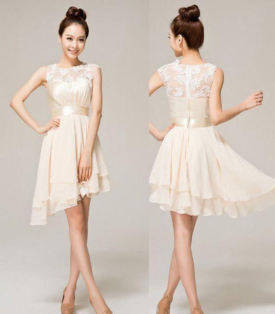 Ivory short lace prom dress beige A-line Princess maxi dress Knee ...